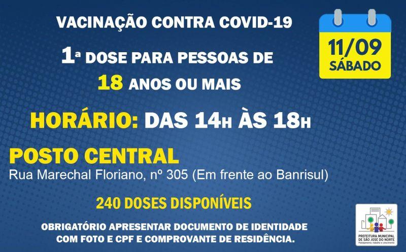 Foto de capa da notícia VACINAÇÃO SÁBADO 11/09   1ª DOSE PARA PESSOAS DE 18 ANOS OU MAIS