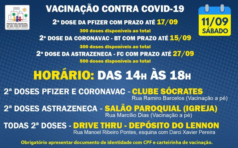 Foto de capa da notícia VACINAÇÃO   SÁBADO 11/09   2ª DOSES