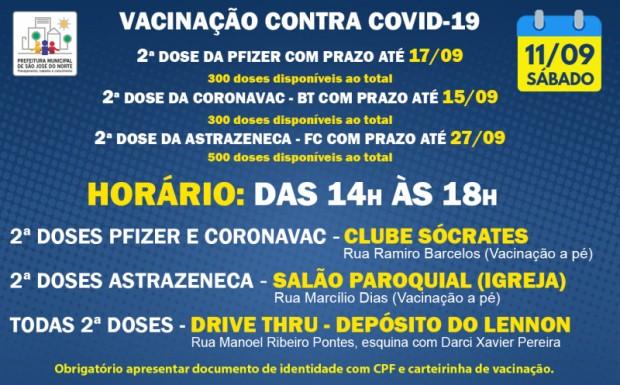 Foto de capa da notícia: VACINAÇÃO   SÁBADO 11/09   2ª DOSES