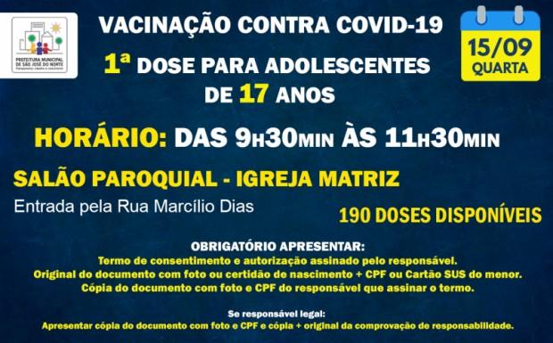 Foto de capa da notícia: ATUALIZAÇÃO | VACINAÇÃO QUARTA 15/09 | 1ª DOSE PARA ADOLESCENTES DE 17 ANOS