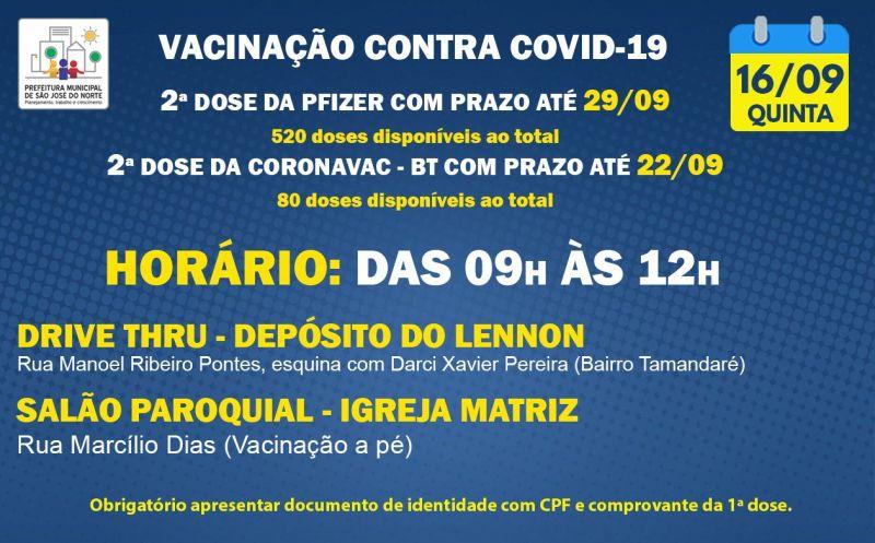 Foto de capa da notícia VACINAÇÃO   QUINTA 16/09   2ª DOSES