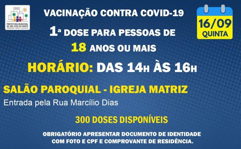 Foto de capa da notícia VACINAÇÃO QUINTA 16/09   1ª DOSE PARA PESSOAS DE 18 ANOS OU MAIS