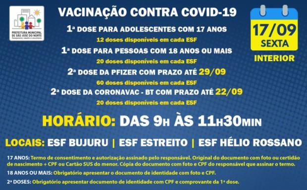 Foto de capa da notícia: VACINAÇÃO INTERIOR - ESFs | SEXTA 17/09 | 1ª DOSE E 2ª DOSE
