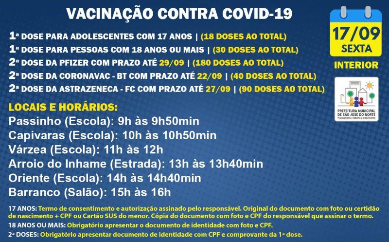 Foto de capa da notícia: VACINAÇÃO INTERIOR - UMS | SEXTA 17/09 | 1ª DOSE E 2ª DOSE
