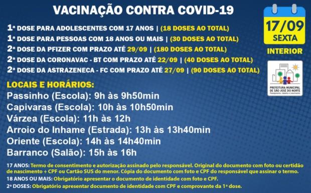 Foto de capa da notícia: VACINAÇÃO INTERIOR - UMS   SEXTA 17/09   1ª DOSE E 2ª DOSE