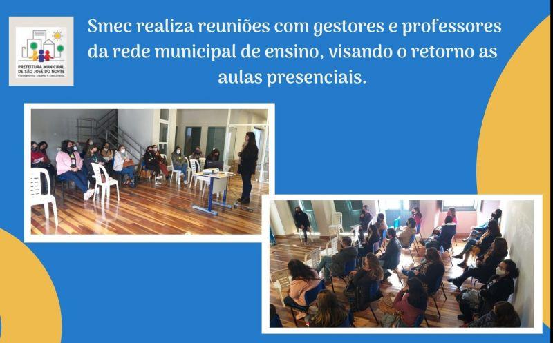 Foto de capa da notícia Smec realiza reuniões com gestores e professores da rede municipal de ensino, visando o retorno as aulas presenciais.