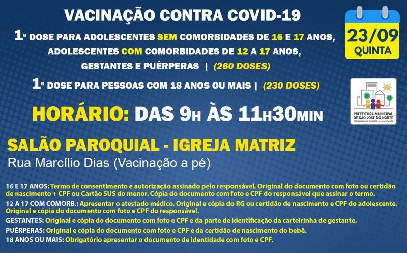 Foto de capa da notícia VACINAÇÃO | QUINTA 23/09 | 1ª DOSE
