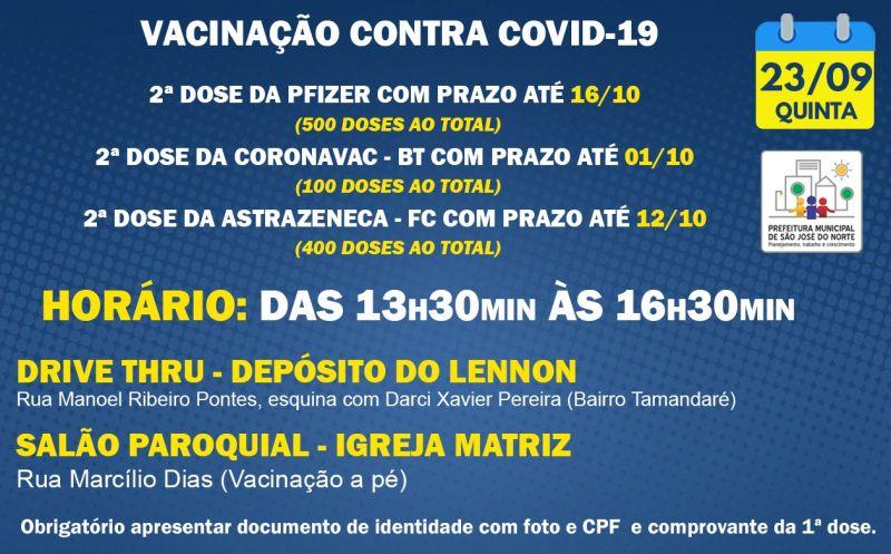 Foto de capa da notícia VACINAÇÃO QUINTA 23/09 | 2ª DOSE