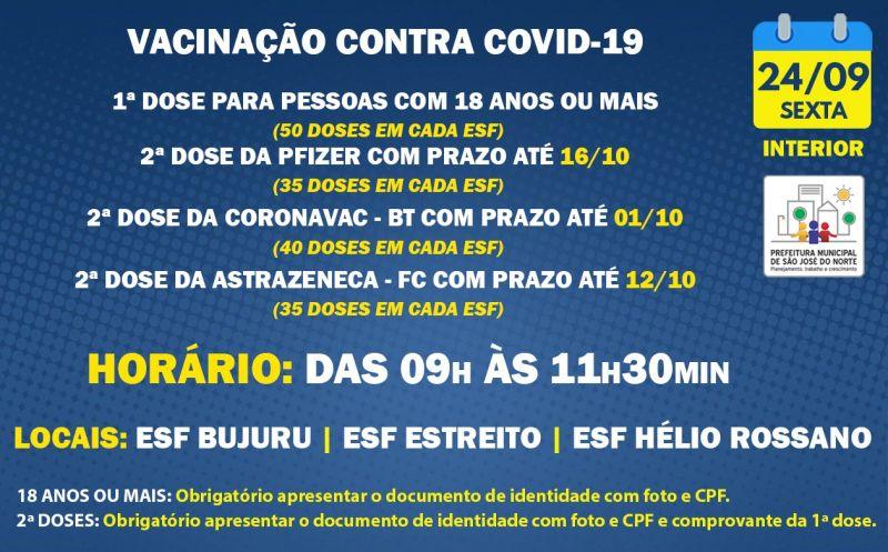 Foto de capa da notícia VACINAÇÃO INTERIOR | SEXTA 24/09 | 1ª DOSE E 2ª DOSE