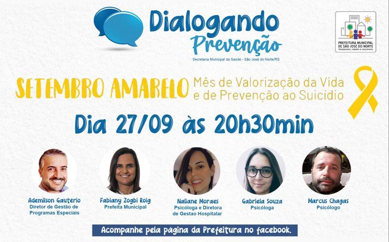 Foto de capa da notícia Dialogando Prevenção   Setembro Amarelo - Mês de valorização da vida e de prevenção ao Suicídio