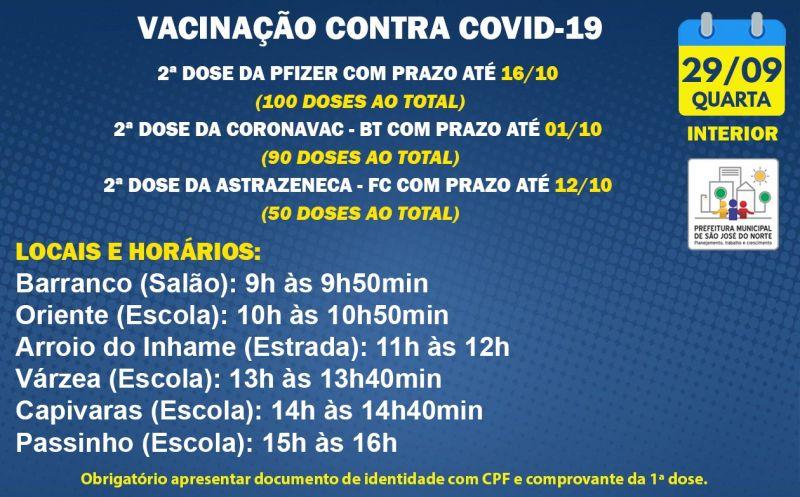 Foto de capa da notícia VACINAÇÃO INTERIOR   QUARTA 29/09   2ª DOSES