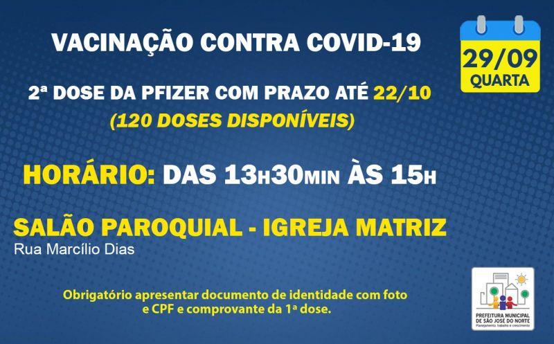 Foto de capa da notícia VACINAÇÃO   QUARTA 29/09   2ª DOSE PFIZER
