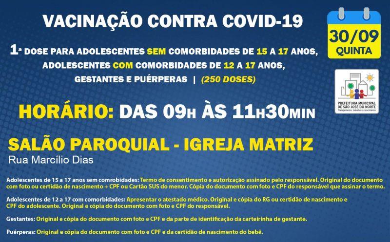 Foto de capa da notícia VACINAÇÃO   QUINTA 30/09   1ª DOSE
