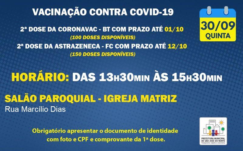 Foto de capa da notícia VACINAÇÃO   QUINTA 30/09   2ª DOSE ASTRAZENECA E CORONAVAC