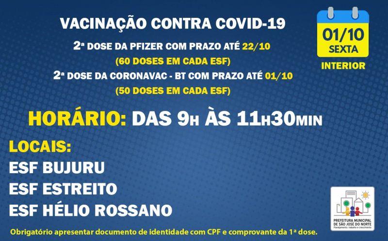 Foto de capa da notícia VACINAÇÃO INTERIOR | SEXTA 01/10 | 2ª DOSES PFIZER E CORONAVAC