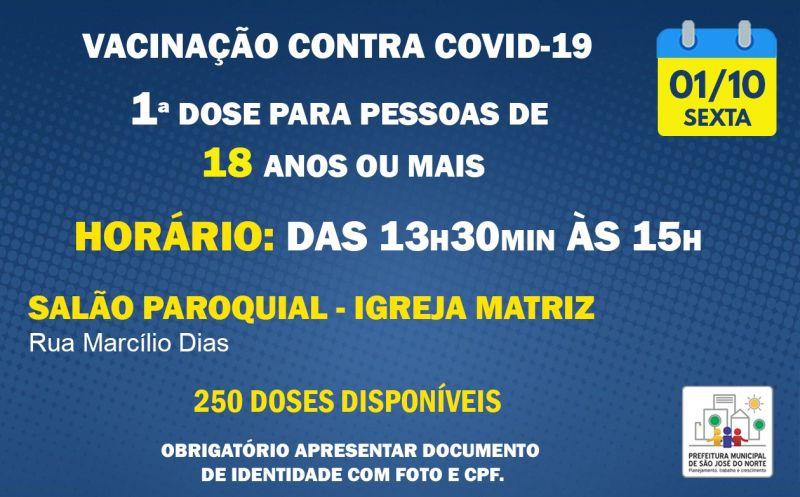 Foto de capa da notícia VACINAÇÃO SEXTA 01/10 | REPESCAGEM 1ª DOSE PARA PESSOAS DE 18 ANOS OU MAIS