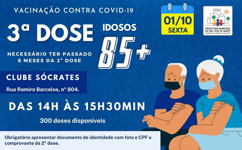 Foto de capa da notícia VACINAÇÃO 3ª DOSE | IDOSOS DE 85 ANOS OU MAIS QUE JÁ TENHA PASSADO 6 MESES DA 2ª DOSE