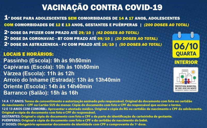 Foto de capa da notícia VACINAÇÃO INTERIOR   QUARTA 06/10   1ª DOSE E 2ª DOSE