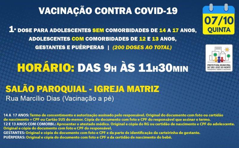 Foto de capa da notícia VACINAÇÃO QUINTA 07/10   1ª DOSE
