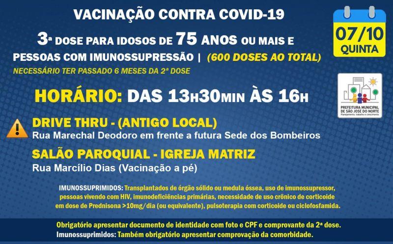 Foto de capa da notícia VACINAÇÃO QUINTA 07/10   3ª DOSE