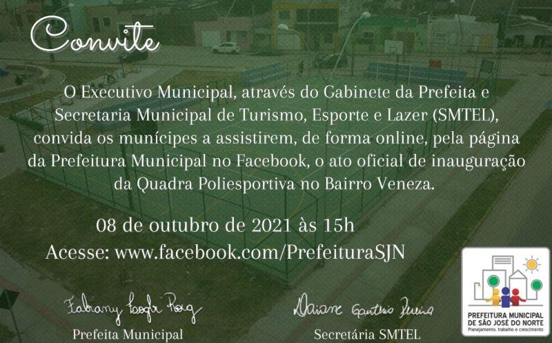 Foto de capa da notícia SMTEL inaugura Quadra Poliesportiva no Bairro Veneza