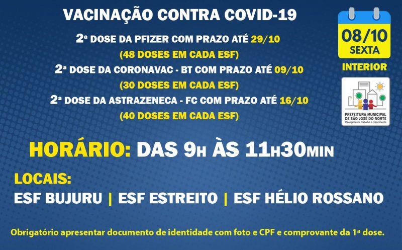Foto de capa da notícia VACINAÇÃO INTERIOR   SEXTA 08/10   2ª DOSES