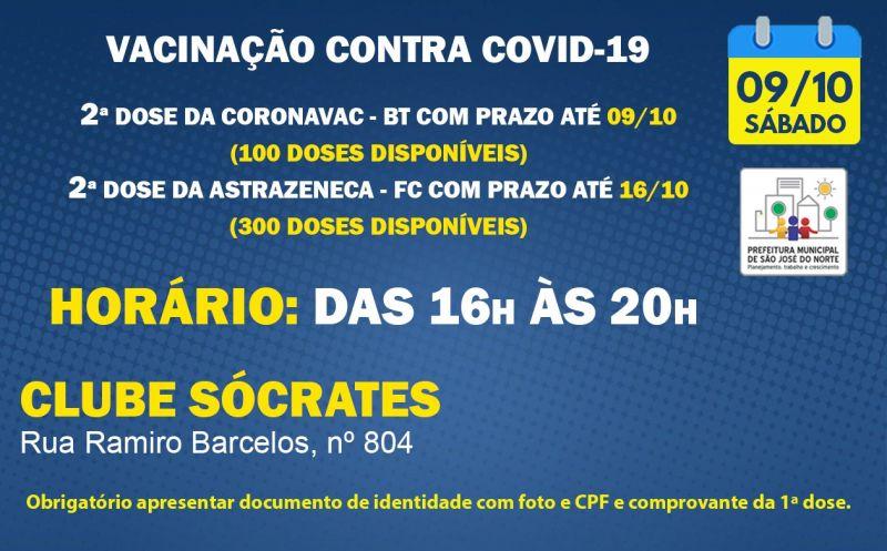 Foto de capa da notícia VACINAÇÃO   SÁBADO 09/10   2ª DOSES ASTRAZENECA E CORONAVAC