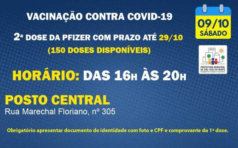 Foto de capa da notícia VACINAÇÃO   SÁBADO 09/10   2ª DOSES PFIZER