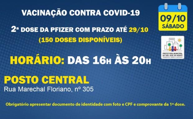 Foto de capa da notícia: VACINAÇÃO   SÁBADO 09/10   2ª DOSES PFIZER
