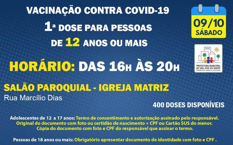 Foto de capa da notícia VACINAÇÃO   SÁBADO 09/10   1ª DOSES PARA PESSOAS DE 12 ANOS OU MAIS