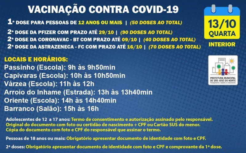 Foto de capa da notícia VACINAÇÃO INTERIOR | QUARTA 13/10 | 1ª DOSE E 2ª DOSE