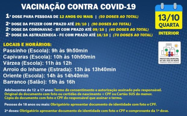 Foto de capa da notícia: VACINAÇÃO INTERIOR   QUARTA 13/10   1ª DOSE E 2ª DOSE