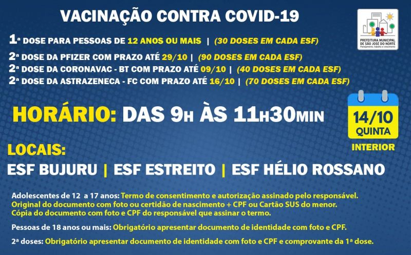 Foto de capa da notícia VACINAÇÃO ESFs INTERIOR | QUINTA 14/10 | 1ª DOSE E 2ª DOSE
