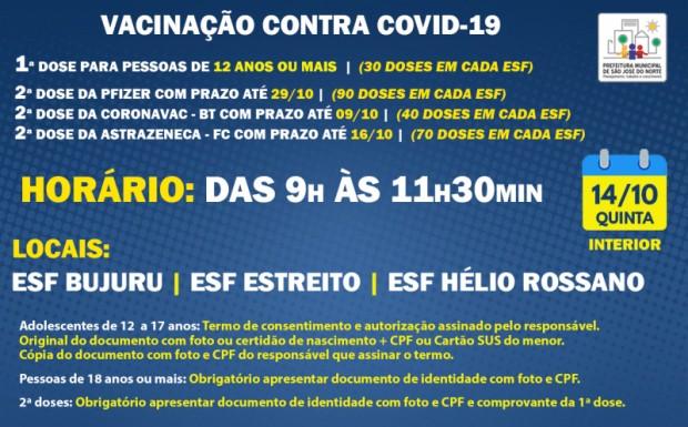 Foto de capa da notícia: VACINAÇÃO ESFs INTERIOR   QUINTA 14/10   1ª DOSE E 2ª DOSE