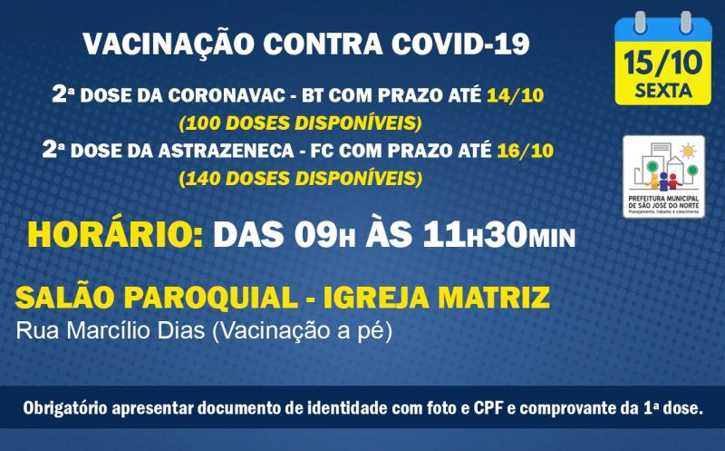 Foto de capa da notícia VACINAÇÃO | SEXTA 15/10 | 2ª DOSES ASTRAZENECA E CORONAVAC