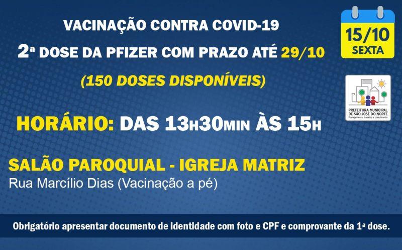 Foto de capa da notícia VACINAÇÃO | SEXTA 15/10 | 2ª DOSES PFIZER