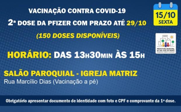 Foto de capa da notícia: VACINAÇÃO   SEXTA 15/10   2ª DOSES PFIZER