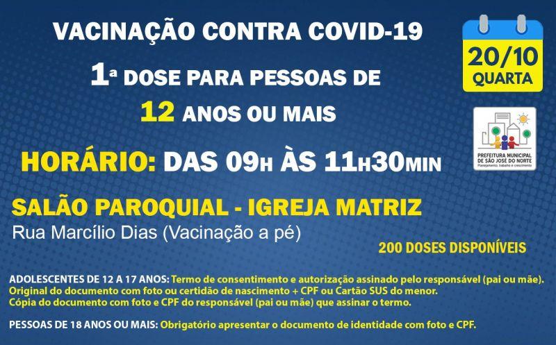 Foto de capa da notícia VACINAÇÃO | QUARTA 20/10 | 1ª DOSES PARA PESSOAS DE 12 ANOS OU MAIS