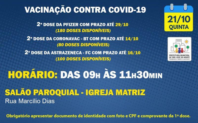 Foto de capa da notícia VACINAÇÃO | QUINTA 21/10 | 2ª DOSES