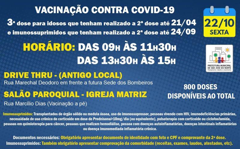Foto de capa da notícia: VACINAÇÃO SEXTA 22/10 | 3ª DOSE