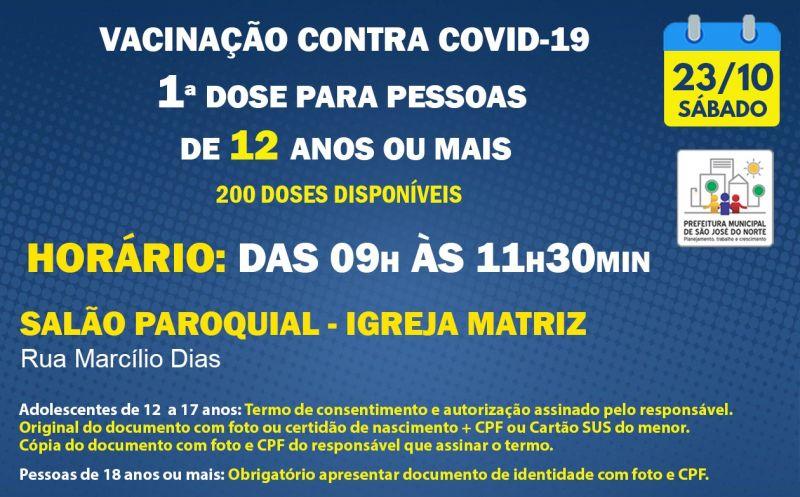 Foto de capa da notícia: VACINAÇÃO | SÁBADO 23/10 | 1ª DOSES PARA PESSOAS DE 12 ANOS OU MAIS