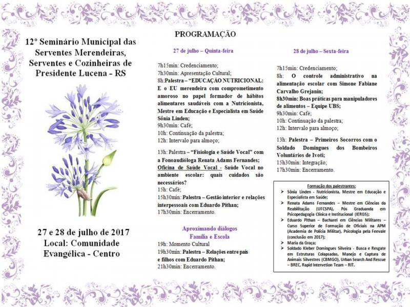 Foto de capa da notícia 12° Seminário Municipal das Serventes Merendeiras, Serventes e Cozinheiras