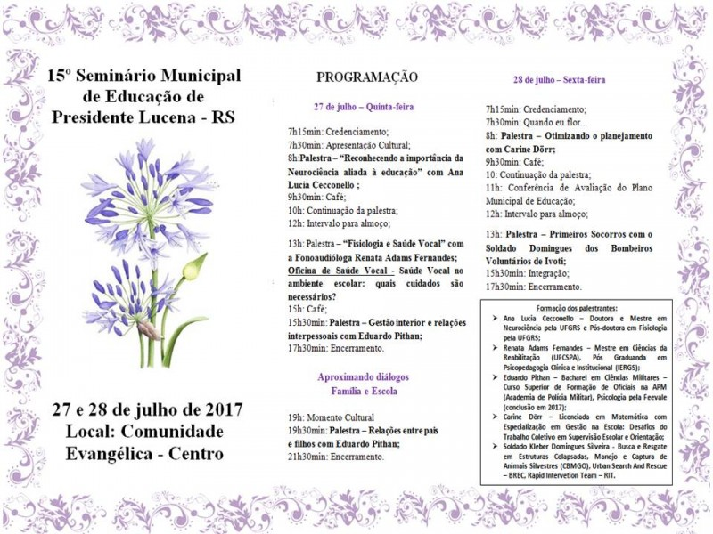 Foto de capa da notícia 15° Seminário Municipal de Educação de Presidente Lucena