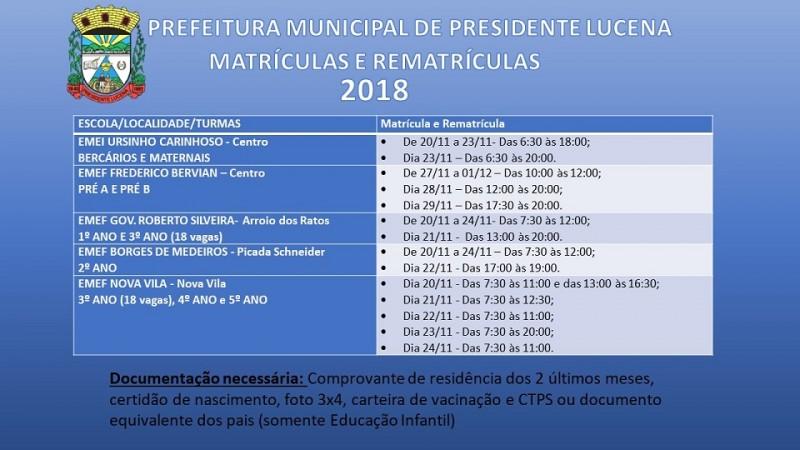 Foto de capa da notícia MATRÍCULAS E REMATRÍCULAS 2018
