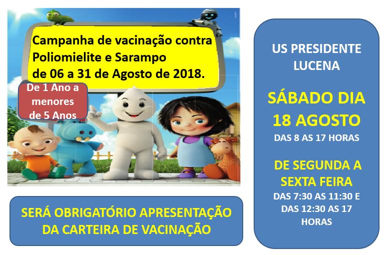 Foto de capa da notícia CAMPANHA DE VACINAÇÃO CONTRA POLIOMIELITE E SARAMPO
