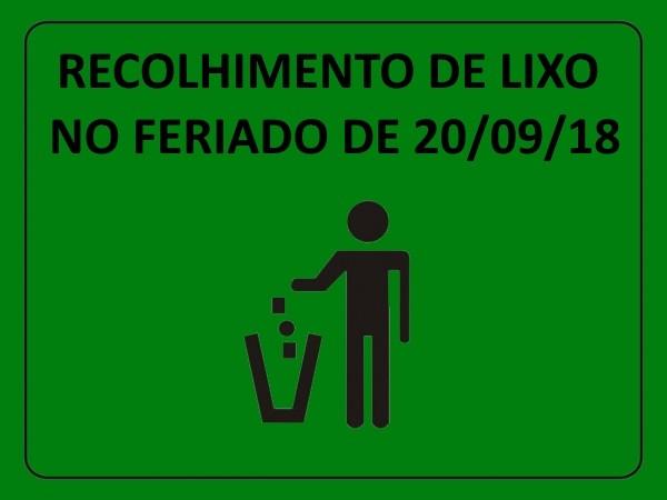 Foto de capa da notícia RECOLHIMENTO DE LIXO NO FERIADO de 20/09