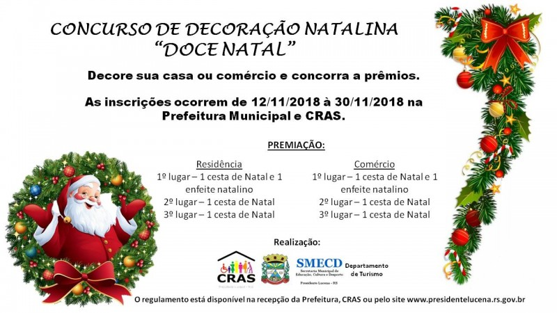 Foto de capa da notícia CONCURSO DE DECORAÇÃO NATALINA - DOCE NATAL