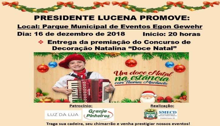 Foto de capa da notícia CONVITE PARA PROGRAMAÇÃO NATALINA - SHOW THOMAS MACHADO