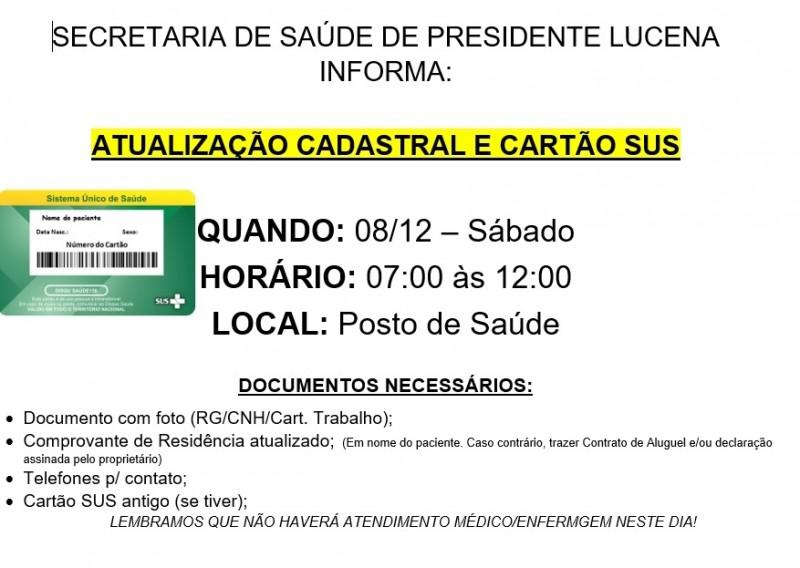 Foto de capa da notícia ATUALIZAÇÃO CADASTRAL E CARTÃO SUS