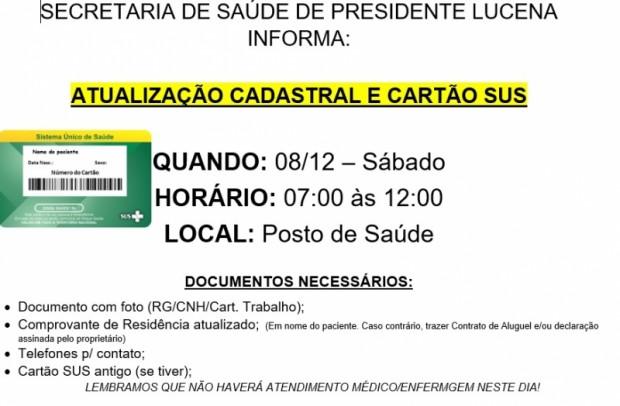 Foto de capa da notícia: ATUALIZAÇÃO CADASTRAL E CARTÃO SUS